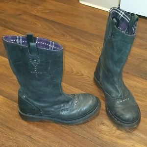 Doc Dr Martens black leather moto biker boots 8